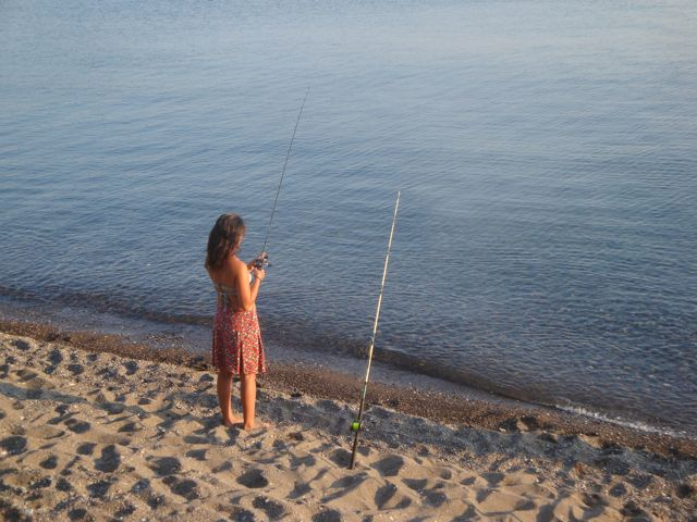 fishing in Skala Eressos, Lesvos