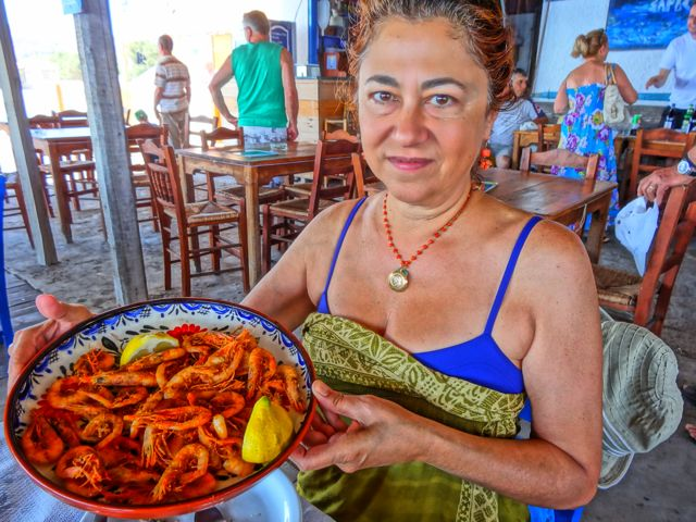 Fried Shrimp at Blue Sardine, Skala Eressos, Lesvos