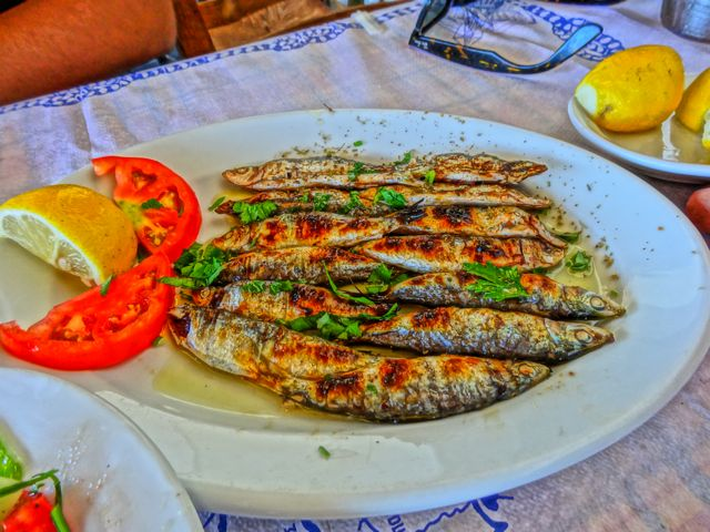 Grilled sardines from Lesvos