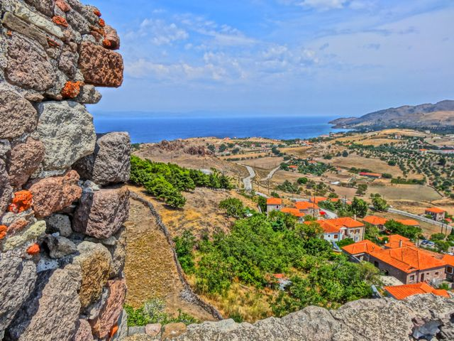 View from Molyvos Castle to Eftalou