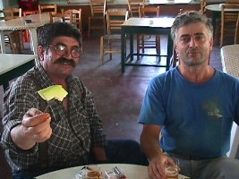 Babis the mailman bouzouki player and Panayotis the singer in Vatousa, Lesvos
